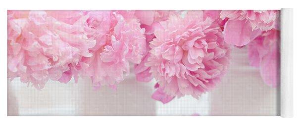 Shabby Chic Pastel Pink Peonies - Pink Peonies In White Mason Jars Yoga Mat