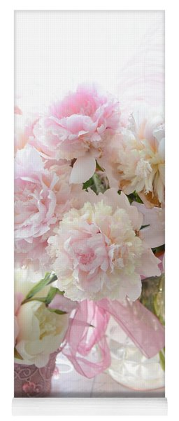 Shabby Chic Pink White Peonies - Shabby Chic Peonies Pastel Pink Dreamy Floral Wall Print Home Decor Yoga Mat