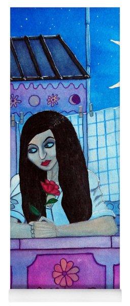 Romantic Woman In The Terrace At Night Yoga Mat