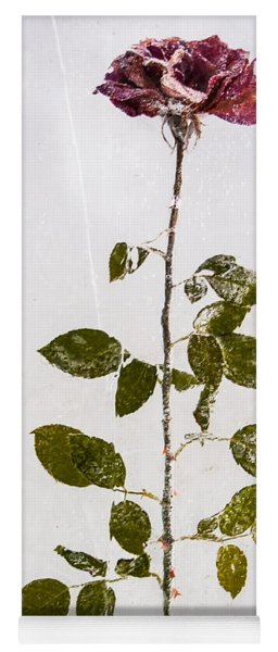 Yoga Mat featuring the photograph Rose Frozen Inside Ice by John Wadleigh