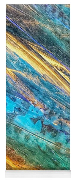 Yoga Mat featuring the painting Rose Gold And Teal Blue Abstract Painting by Marianna Mills
