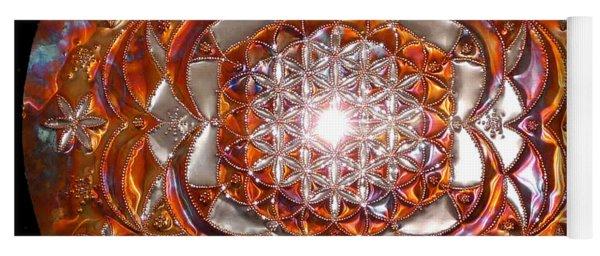 Yoga Mat featuring the sculpture Rose Of Life Copper Lightmandala by Robert Thalmeier