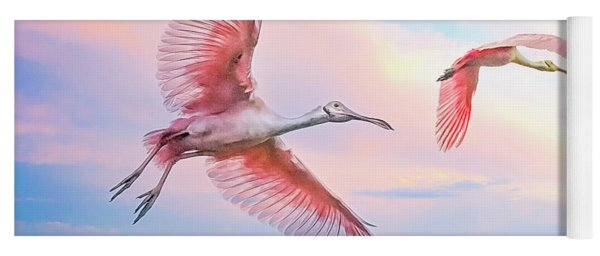 Roseate Spoonbills In Flight. Yoga Mat