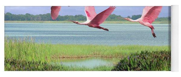 Roseate Spoonbills Of Florida Bay Yoga Mat