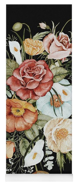 Roses And Poppies Bouquet Yoga Mat