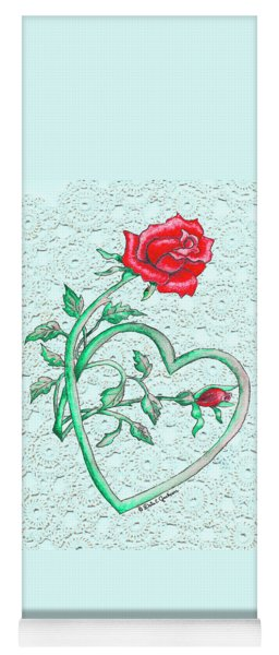 Roses Hearts And Lace Flowers Design  Yoga Mat