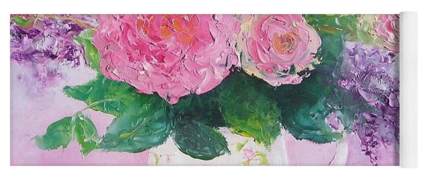 Roses In A Pink Floral Jug Yoga Mat