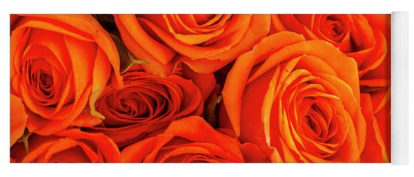 Roses In Orange Yoga Mat