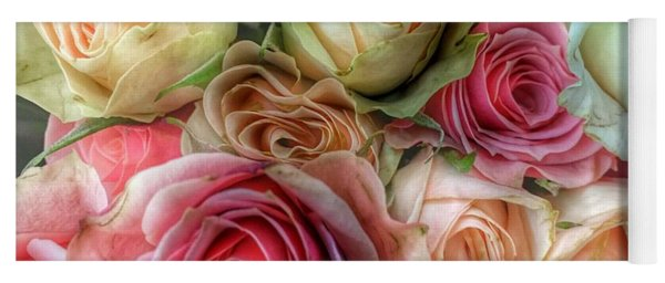 Yoga Mat featuring the photograph Roses- Pink And Cream by Marianna Mills