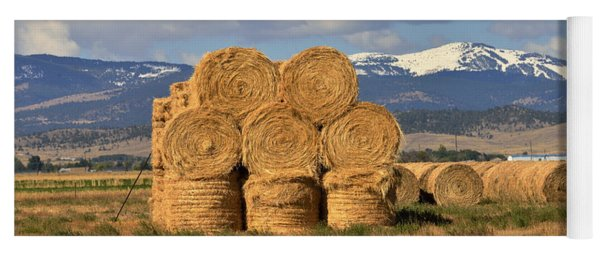 Round Hay Bales And Mountain Yoga Mat