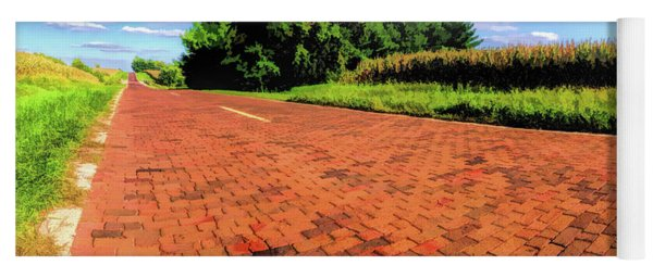 Yoga Mat featuring the painting Route 66 Brick Road by Christopher Arndt