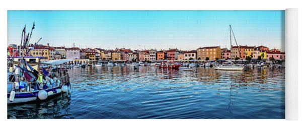 Rovinj Harbor And Boats Panorama Yoga Mat