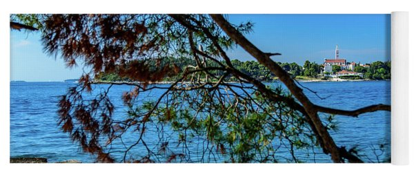 Rovinj Old Town Accross The Adriatic Through The Trees Yoga Mat