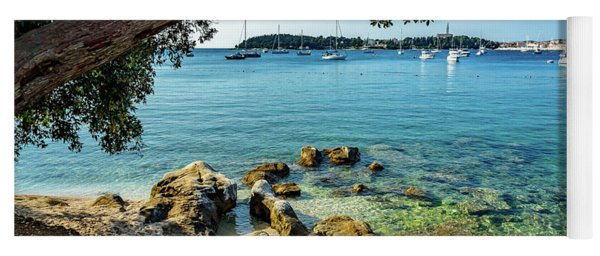Rovinj Old Town, Harbor And Sailboats Accross The Adriatic Through The Trees Yoga Mat