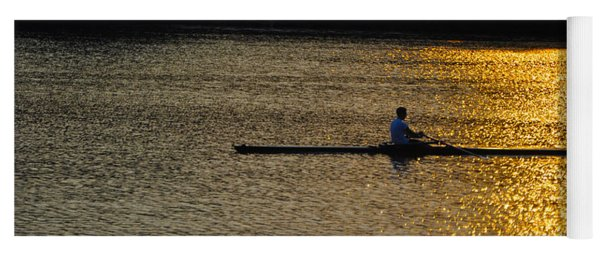 Rowing At Sunset Yoga Mat