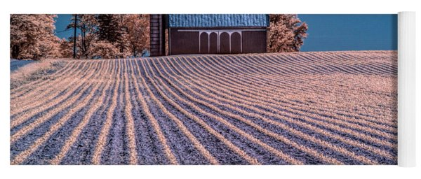 Rows In A Farm Field With Barn And Silo In Infrared Yoga Mat