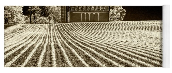 Rows In A Farm Field With Barn And Silo In Infrared Sepia Tone Yoga Mat