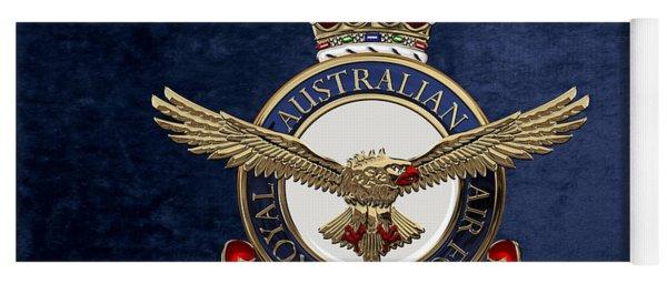 Royal Australian Air Force -  R A A F  Badge Over Blue Velvet Yoga Mat