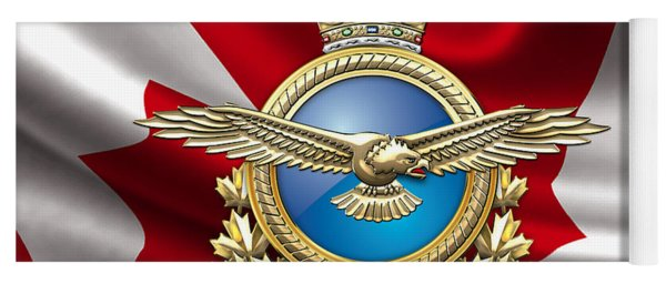 Royal Canadian Air Force Badge Over Waving Flag Yoga Mat