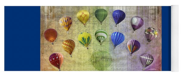 Yoga Mat featuring the digital art Roygbiv Balloons by Melinda Ledsome
