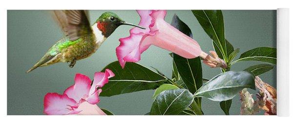 Ruby-throated Hummingbird And Desert Rose Yoga Mat
