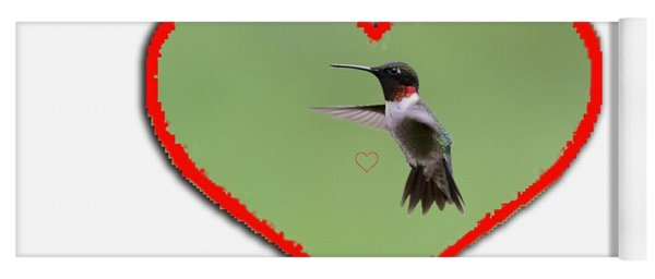 Ruby-throated Hummingbird In Heart Yoga Mat