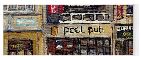 Rue Peel Montreal Winter Street Scene Paintings Peel Pub Cafe Republique Hockey Scenes Canadian Art Yoga Mat