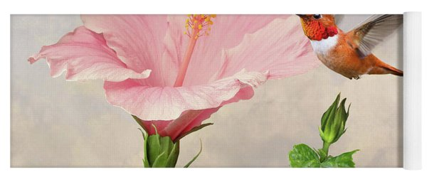 Rufous Hummingbird And Pink Hibiscus Flower Yoga Mat