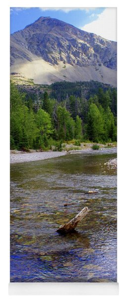 Running Eagle Creek Glacier National Park Yoga Mat