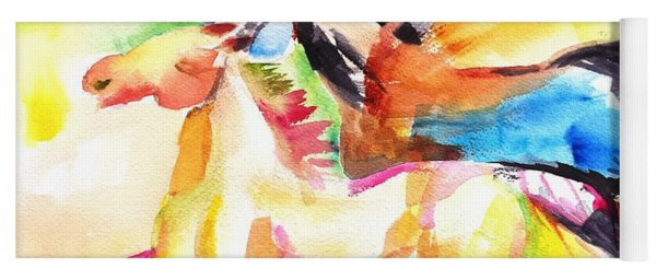 Running Horses Color Yoga Mat