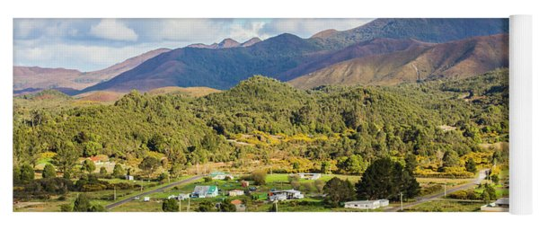 Rural Landscape With Mountains And Valley Village Yoga Mat