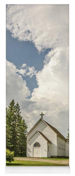 Rural White Church With A Cross Yoga Mat