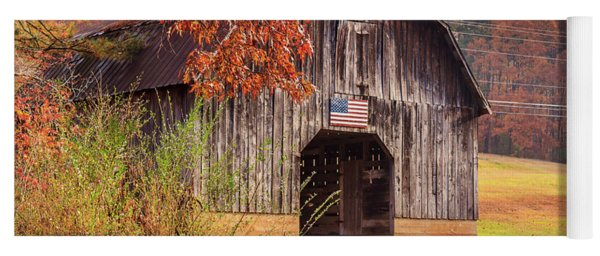 Yoga Mat featuring the photograph Rustic Barn In Autumn by Doug Camara