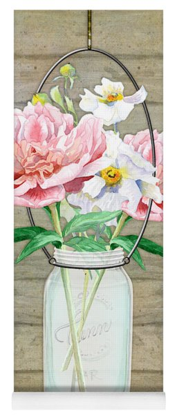 Rustic Country Peony N Poppy Mason Jar Bouquet On Wooden Fence Yoga Mat