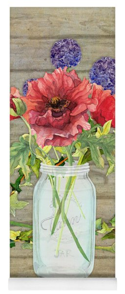 Rustic Country Red Poppy W Alium N Ivy In A Mason Jar Bouquet On Wooden Fence Yoga Mat