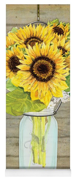 Rustic Country Sunflowers In Mason Jar Yoga Mat
