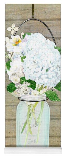 Rustic Country White Hydrangea N Matillija Poppy Mason Jar Bouquet On Wooden Fence Yoga Mat