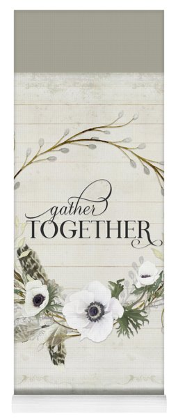 Rustic Farmhouse Gather Together Shiplap Wood Boho Feathers N Anemone Floral 2 Yoga Mat