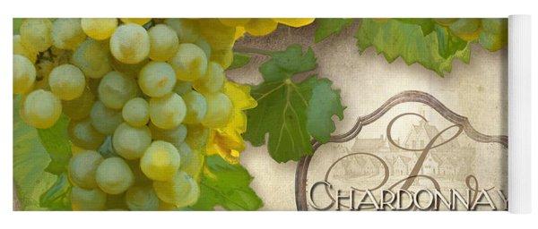 Rustic Vineyard - Chardonnay White Wine Grapes Vintage Style Yoga Mat