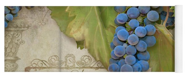 Rustic Vineyard - Shiraz Wine Grapes Over Stone Yoga Mat