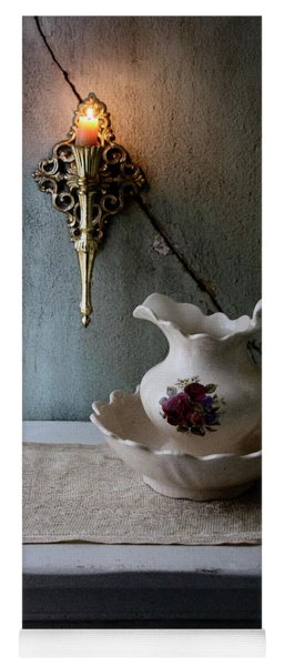 Rustic Water Closet With Brass Sconce And A Pretty Floral Patter Yoga Mat