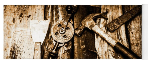 Rusty Old Hand Tools On Rustic Wooden Surface Yoga Mat