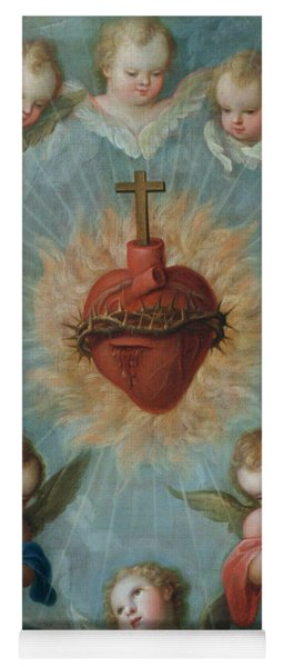 Sacred Heart Of Jesus Surrounded By Angels Yoga Mat