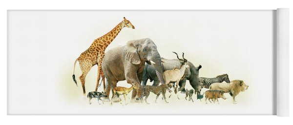Safari Animals Walking Side Horizontal Banner Yoga Mat
