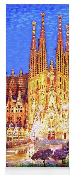 Sagrada Familia At Night Yoga Mat