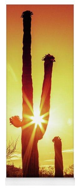 Saguaro Cactus Silhouette At Sunrise Yoga Mat