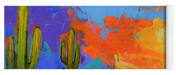 Saguaros Land Sunset By Elise Palmigiani - Square Version Yoga Mat