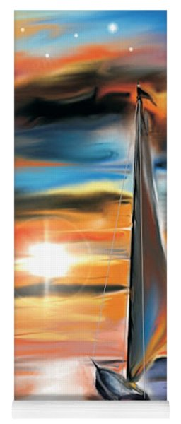 Yoga Mat featuring the digital art Sailboat And Sunset by Darren Cannell