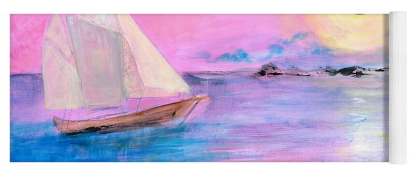 Sailboat In Pink Moonlight  Yoga Mat