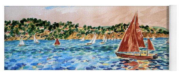 Sailboat On The Bay Yoga Mat